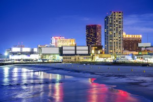Atlantic City, New Jersey, USA resort casinos cityscape on the s